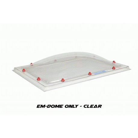Em-Dome Rectangle Roof Light Polycarbonate Single Skin - 900mm x 1800mm